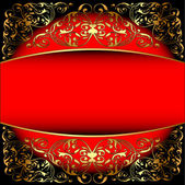 Red background a frame with a gold pattern — Stock Vector