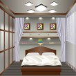 Interior bedroom with a window with curtains - Image vectorielle