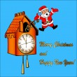 Santa Claus congratulates from a cuckoo clock — Stock Vector