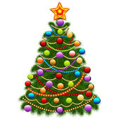 Of the Christmas tree decorated with balls and beads — Stock Vector