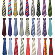 Stock Vector: Of set of male business ties on white background