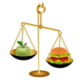 Of the comparison of the weight of an Apple and a hamburger for — Stock Vector