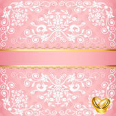 Wedding card with floral pattern and rings — ストックベクタ