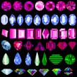 Of a set of precious stones of different cut - Stock Vector