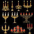 Set of candelabra and candlesticks with candles — Cтоковый вектор #16264941