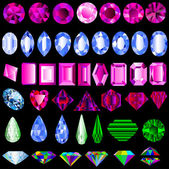 Of a set of precious stones of different cut — Stock Vector