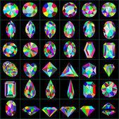 Conjunto de piedras preciosas y artificiales de diferentes cortes — Vector de stock