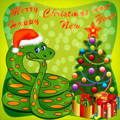 Of a Christmas tree and a snake with gifts on green — ストックベクタ