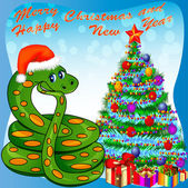 Of a Christmas tree and a snake with gifts — Vector de stock
