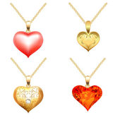 Set of pendants with precious stones in the form of heart — Vecteur