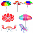 Kit umbrella beach with chairs and table — Stock Vector