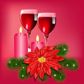 Christmas flower background with champagne and candles — Stock vektor