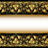 Gold background with a strip with a gold vegetative ornament — Stock Vector