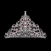 Illustration of women's tiara crown wedding — Stock Vector