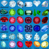 Set of precious stones of different cuts and colors — Stock Vector