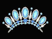 Diadem crown feminin form kokoshnik med blå stenar — Stockvektor