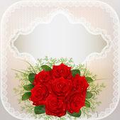 Kort med röda rosor och spets — Stockvektor