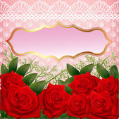 фон с красными розами и кружева — Cтоковый вектор
