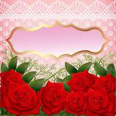 Pozadí s červenými růžemi a krajkou — Stock vektor