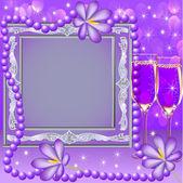 Ram med en glas-blomma och pärlor — Stockvektor