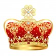 Royal gold crown with jewels and ornament - Векторная иллюстрация