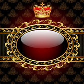 Background with a gold crown and a circle of glass — Stock Vector