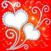 Fundo com estrelas e corações com pedras preciosas — Vetorial Stock