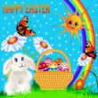 Easter background with egg and amusing rabbit and rainbow — Stock Vector