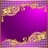 Background with gold ornaments and precious stones tassels — Stock Vector