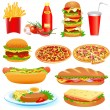 With a set of fast food and ketchup pitsey — Vector de stock