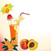 Персиковый сок в стакан с цветком — Cтоковый вектор