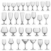 Set of empty glass goblets and wine glasses — Stock Vector