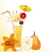 Of pear juice in a glass with a flower — Vector de stock