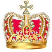 Of royal gold crown with jewels and ornament — Stock Vector