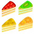 Set of pieces of cake with kiwi strawberry banana and orange - Stock Vector