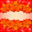 Stock Vector: Of background with red flowers