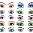 set of women's eyes with a different makeup — Stock Vector
