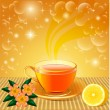 Royalty-Free Stock Vector Image: background with flower tea and lemon