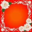 background with jewelry and wedding flower — Stock vektor