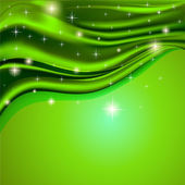 Groene achtergrond stof satijn met de sterren — Stockvector
