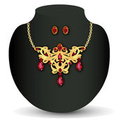 Of necklace with red jewels and earrings — Stock Vector