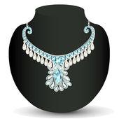 Necklace women's wedding with precious stones — Stock Vector