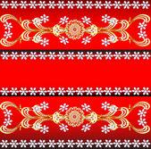 De fondo rojo con piedras preciosas, el patrón oro y flo — Vector de stock