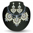 Of a necklace and earrings with pearls - Imagen vectorial