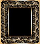 Background frame with vegetable gold(en) ornament — 图库矢量图片