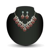Złoty naszyjnik i kolczyki kobieta z czerwonym kamieniem szlachetnym — Wektor stockowy