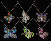 Set of butterfly pendants with precious stones — Vetorial Stock