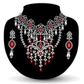 Of a necklace with her wedding with red precious stones — Stock Vector