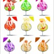 Set of ice-cream with fruits in a glass goblet — Vector de stock