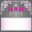 Background with pink chandelier for invitations — Stock Vector